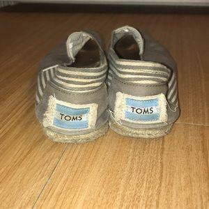 TOMS gray & white striped canvas
